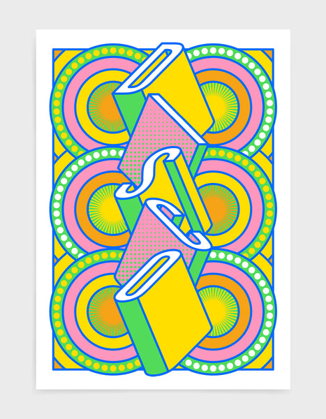disco music art print featuring a geometric abstract pattern in bold shapes and vibrant rainbow colours. Block typography depicts the word disco in tumbling text