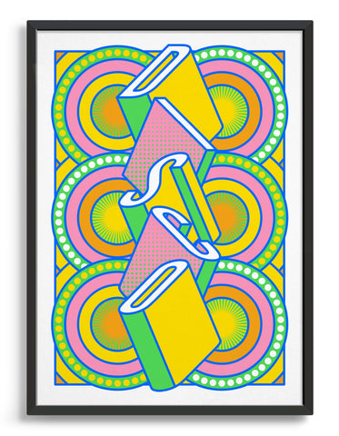 disco music art print featuring a geometric abstract pattern in bold shapes and vibrant colours. Block typography depicts the word disco in tumbling text
