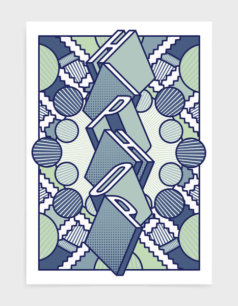 Hiphop music art print featuring a geometric abstract pattern in bold shapes and blue tone colours. Block typography depicts the word Hiphop in tumbling text