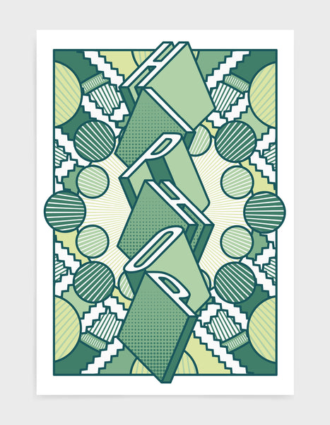 Hiphop music art print featuring a geometric abstract pattern in bold shapes and green tone colours. Block typography depicts the word Hiphop in tumbling text