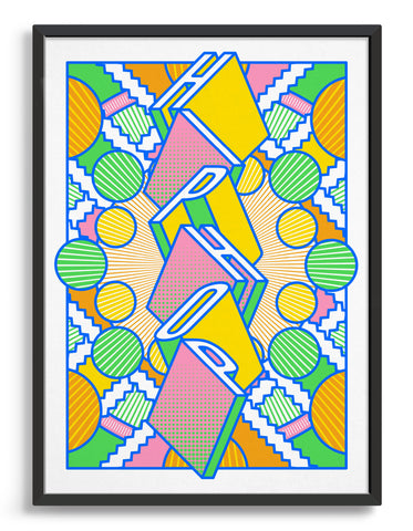 Hiphop music art print featuring a geometric abstract pattern in bold shapes and vibrant rainbow colours. Block typography depicts the word Hiphop in tumbling text
