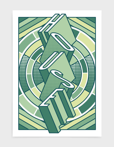 house music art print featuring a geometric abstract pattern in bold shapes and green tone colours. Block typography depicts the word House in tumbling text