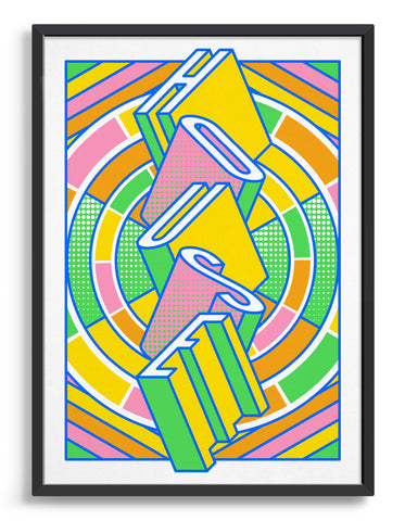 house music art print featuring a geometric abstract pattern in bold shapes and vibrant rainbow colours. Block typography depicts the word House in tumbling text
