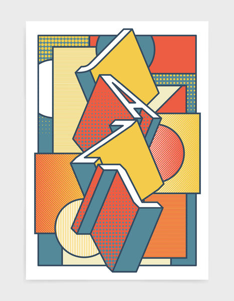 Jazz music art print featuring a geometric abstract pattern in bold shapes and orange tonal colours. Block typography depicts the word Jazz in tumbling text