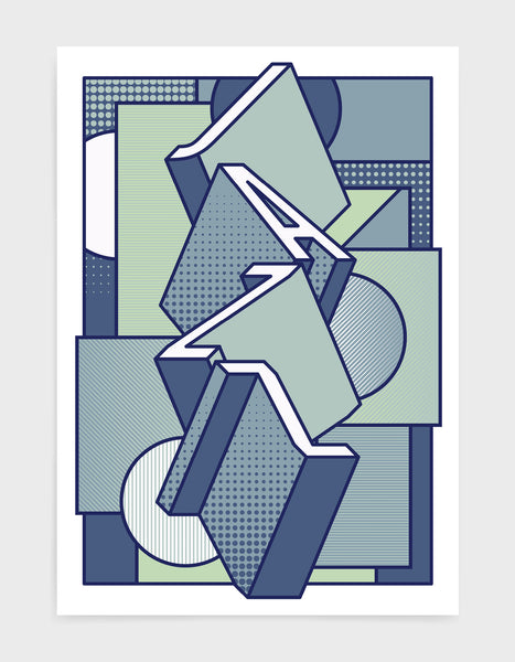 Jazz music art print featuring a geometric abstract pattern in bold shapes and blue tone colours. Block typography depicts the word Jazz in tumbling text