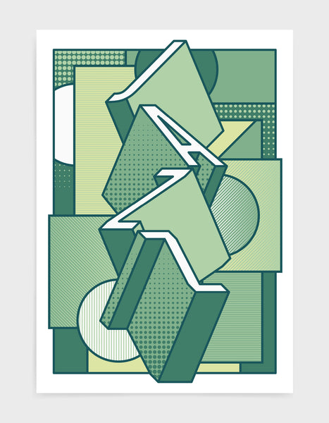 Jazz music art print featuring a geometric abstract pattern in bold shapes and green tone colours. Block typography depicts the word Jazz in tumbling text