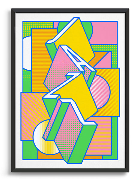 Jazz music art print featuring a geometric abstract pattern in bold shapes and vibrant rainbow colours. Block typography depicts the word Jazz in tumbling text