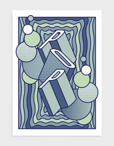 pop music art print featuring a geometric abstract pattern in bold shapes and blue tone colours. Block typography depicts the word Pop in tumbling text