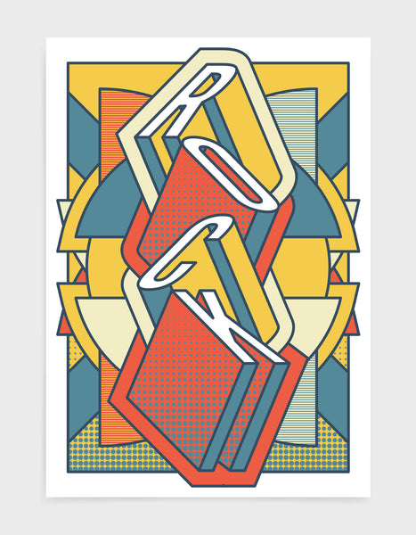 rock music art print featuring a geometric abstract pattern in bold shapes and orange tone colours. Block typography depicts the word Rock in tumbling text