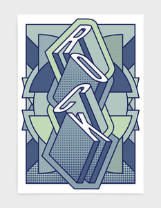 rock music art print featuring a geometric abstract pattern in bold shapes and blue tone colours. Block typography depicts the word Rock in tumbling text