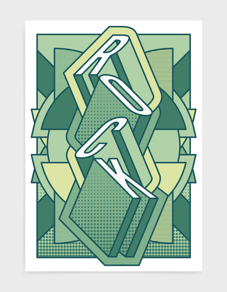 rock music art print featuring a geometric abstract pattern in bold shapes and green tone colours. Block typography depicts the word Rock in tumbling text