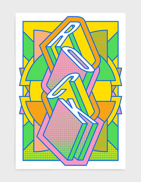 rock music art print featuring a geometric abstract pattern in bold shapes and vibrant rainbow colours. Block typography depicts the word Rock in tumbling text