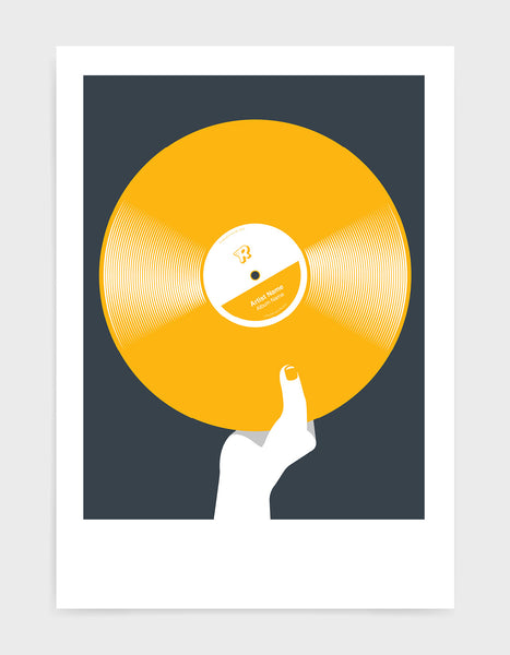 art print image of a personalised yellow coloured vinyl record held in a hand with red nails against a black background