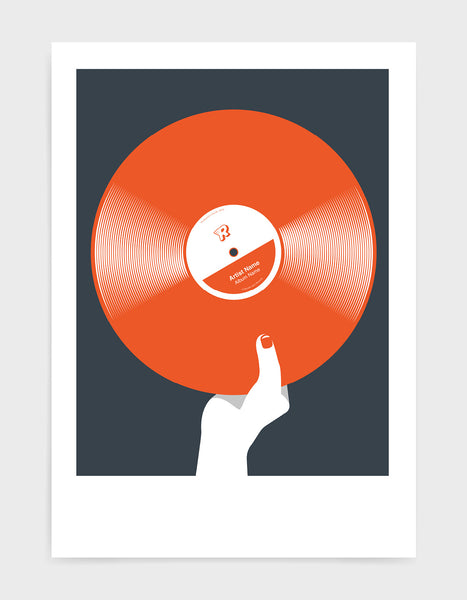 art print image of a personalised orange coloured vinyl record held in a hand with red nails against a black background