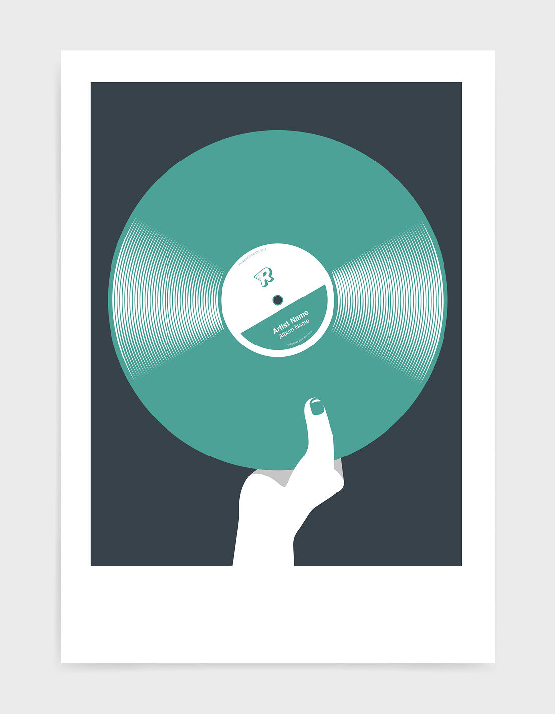 art print image of a personalised green coloured vinyl record held in a hand with red nails against a black background