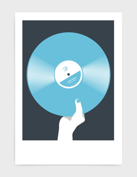 art print image of a personalised light blue coloured vinyl record held in a hand with red nails against a black background