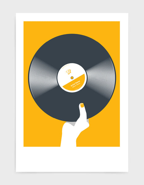 art print image of a personalised black vinyl record held in a hand with red nails against a yellow background