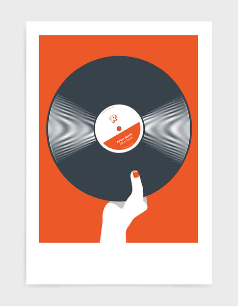 art print image of a personalised black vinyl record held in a hand with red nails against a orange background