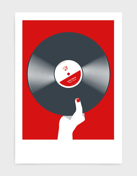 art print image of a personalised black vinyl record held in a hand with red nails against a red ackground