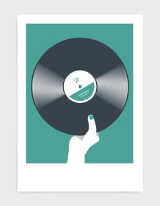 art print image of a personalised black vinyl record held in a hand with red nails against a green background