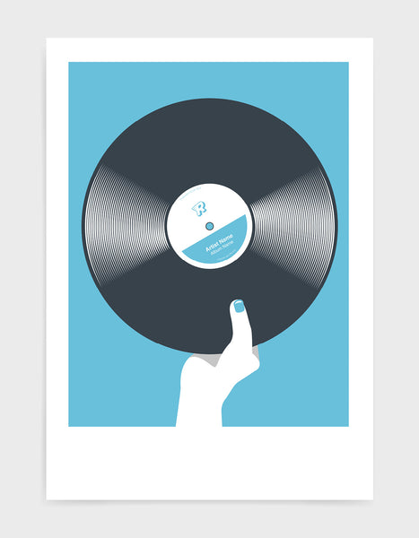 art print image of a personalised black vinyl record held in a hand with red nails against a light blue background