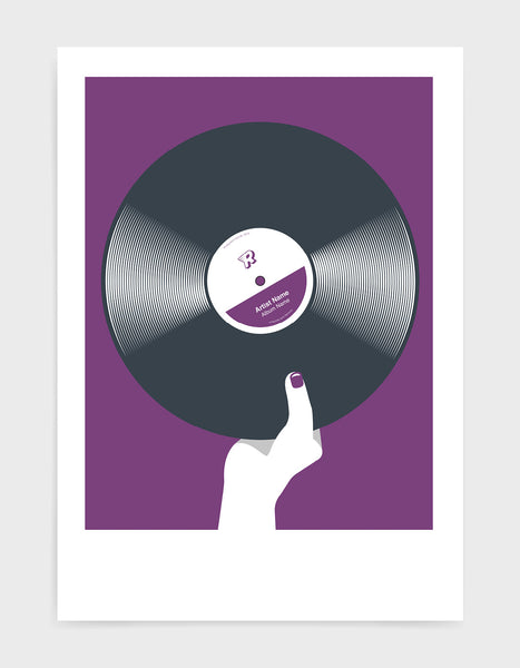 art print image of a personalised black vinyl record held in a hand with red nails against a violet background