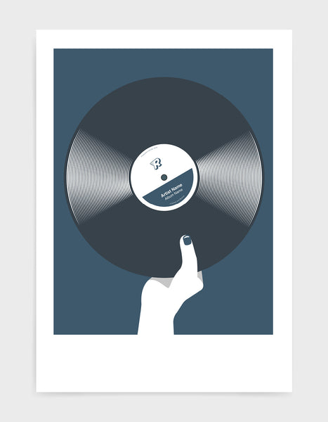 art print image of a personalised black vinyl record held in a hand with red nails against a dark blue background