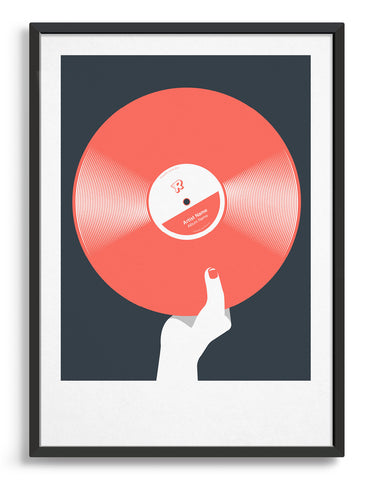 art print image of a personalised coral coloured vinyl record held in a hand with red nails against a black background