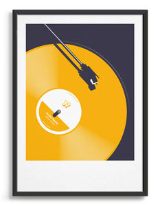 Framed customisable vinyl art print in yellow