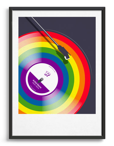 Rainbow vinyl album with personalisation