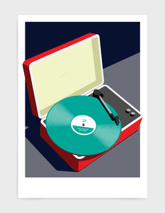 Vintage record player print features red suitcase with record player and a vinyl disc in green against a grey and black background