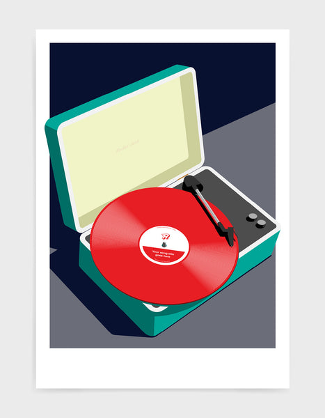 Vintage record player print features suitcase with record player and a vinyl disc in red against a grey and black background