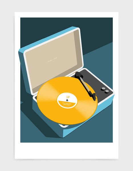 Vintage record player print features blue suitcase with record player and a vinyl disc in yellow against a grey and black background