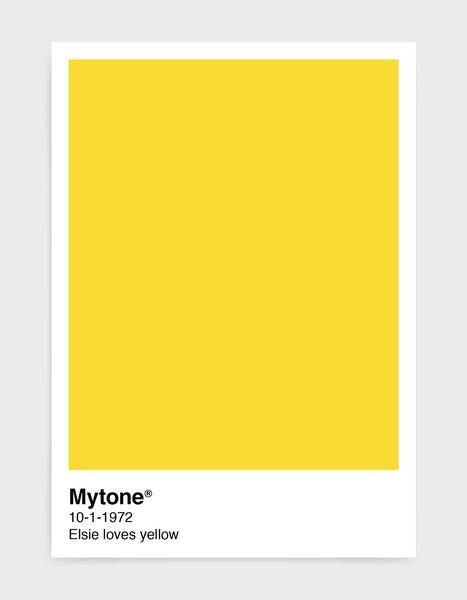Pantone style art print with custom colour and text image shows yellow print