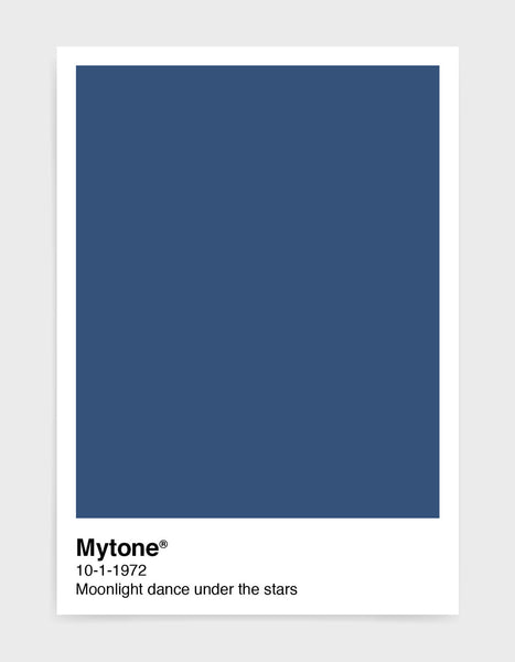 Pantone style art print with custom colour and text image shows dark blue print