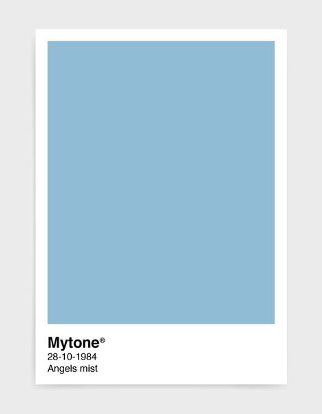 Pantone style art print with custom colour and text image shows light blue print