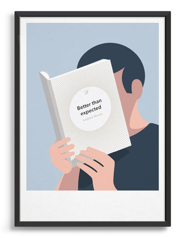 Minimal art print depicting a white person with their head in a book, reading. The book cover can be personalised, this one has a sunburst design