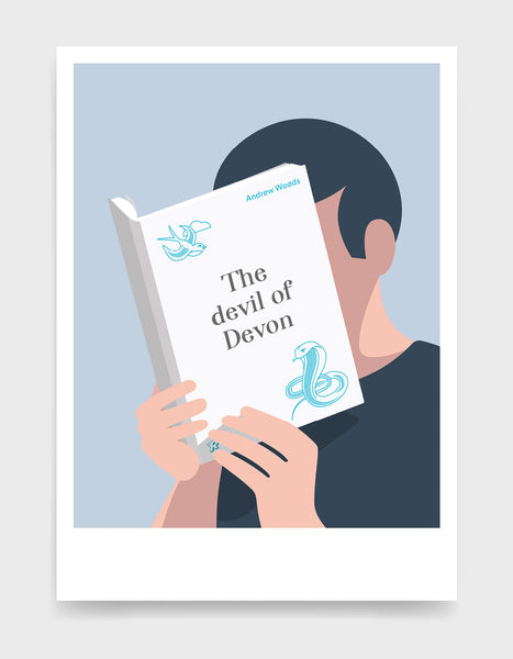 Minimal art print depicting a white person with their head in a book, reading. The book cover can be personalised, this one has a snake design