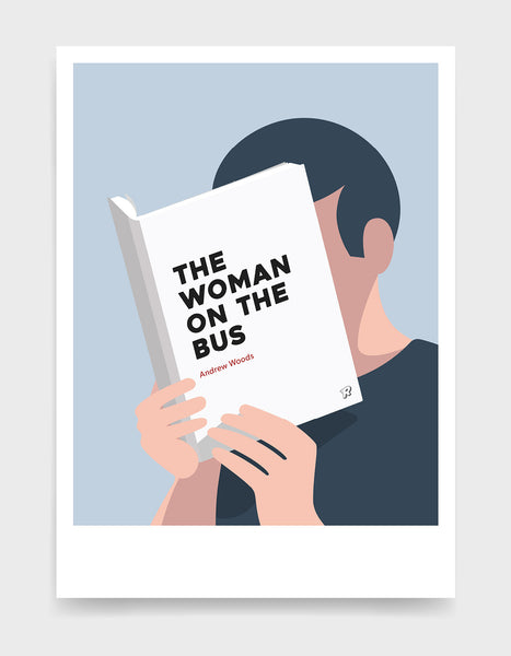 Minimal art print depicting a white person with their head in a book, reading. The book cover can be personalised, this one has a bold font design