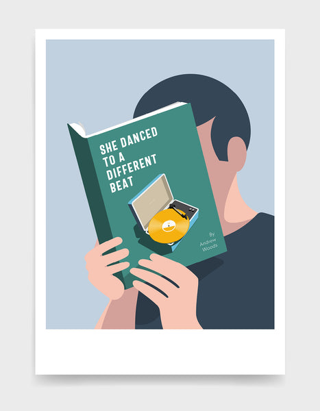 Minimal art print depicting a white person with their head in a book, reading. The book cover can be personalised, this one has a vinyl music player design