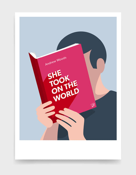 Minimal art print depicting a white person with their head in a book, reading. The book cover can be personalised, this one has a bright and eye catching design
