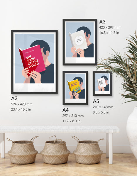 image depicting four different size prints available in the reading a book collection; A5, A4, A3 and A2