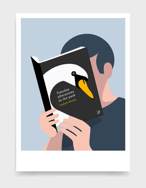 Minimal art print depicting a white person with their head in a book, reading. The book cover can be personalised, this one has a swan design