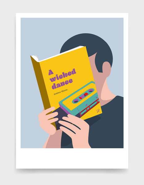 Minimal art print depicting a white person with their head in a book, reading. The book cover can be personalised, this one has a mixtape design