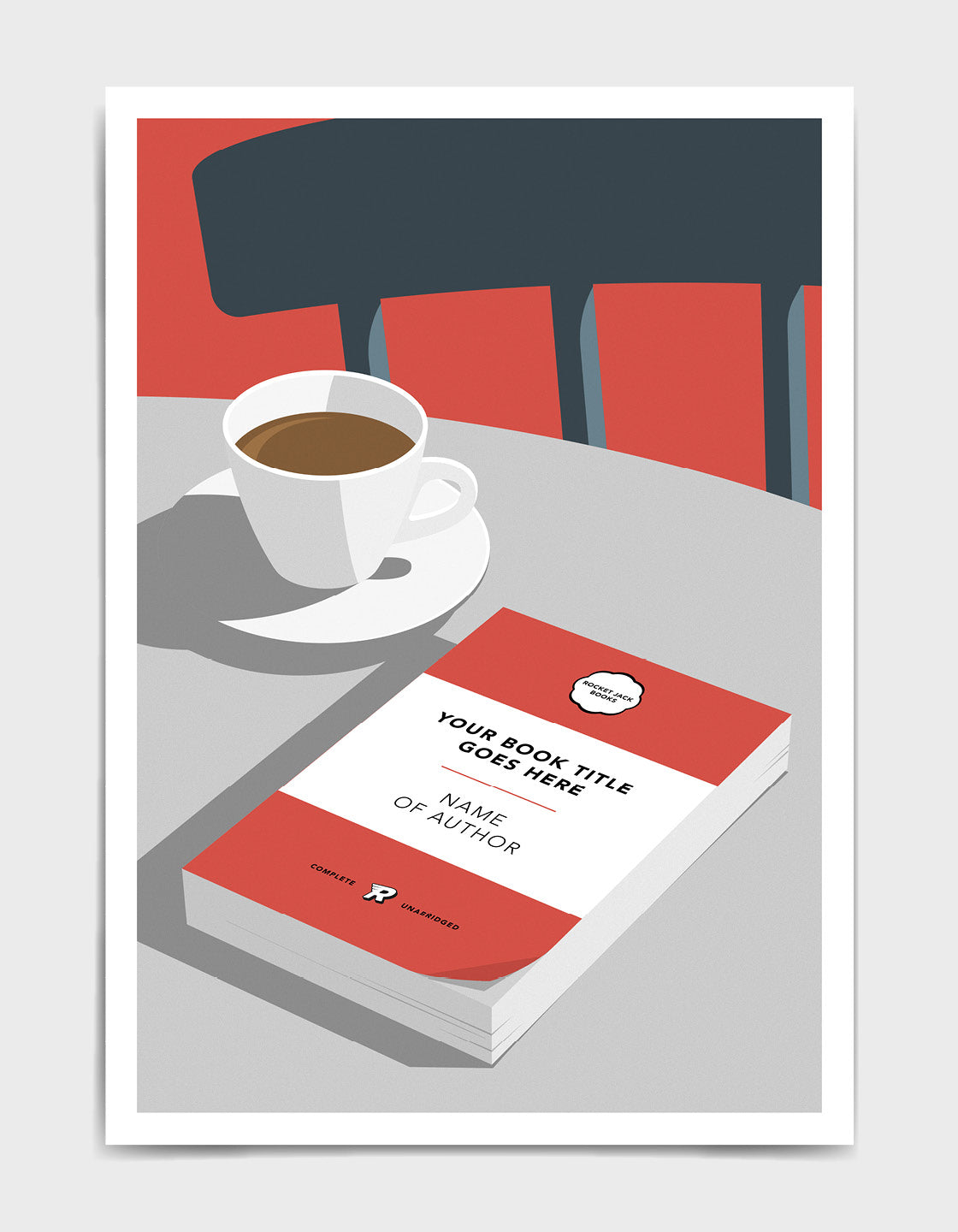 Personalised book cover art print in red on a table with a cup of tea