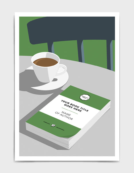 Personalised book cover art print in green on a table with a cup of tea