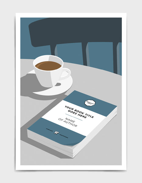 Personalised book cover art print in blue on a table with a cup of tea