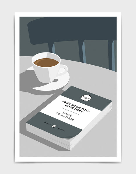 Personalised book cover art print in grey on a table with a cup of tea