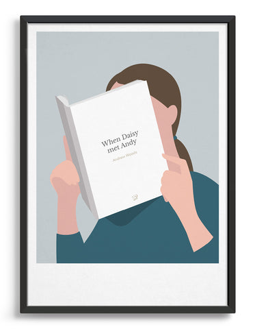 Minimal art print depicting a white person with their head in a book, reading. The book cover can be personalised, this one has a simple, white design
