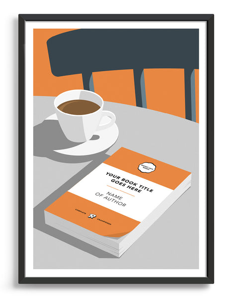 Personalised book cover art print in orange on a table with a cup of tea